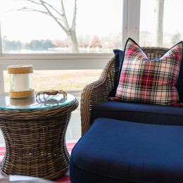 coastal haven design | coastalhavendesign.com | indoor outdoor seating blue chair and plaid pillow