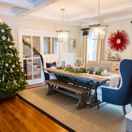 coastal haven design | coastalhavendesign.com | dining room table, chairs, Christmas tree and decor