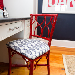 coastal haven design | coastalhavendesign.com | red and blue fish pattern chair