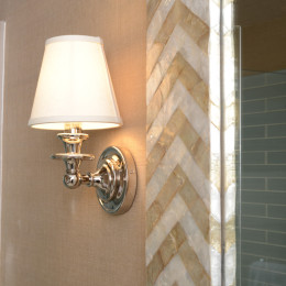 coastal haven design | coastalhavendesign.com | chevron tiled mirror and lighting