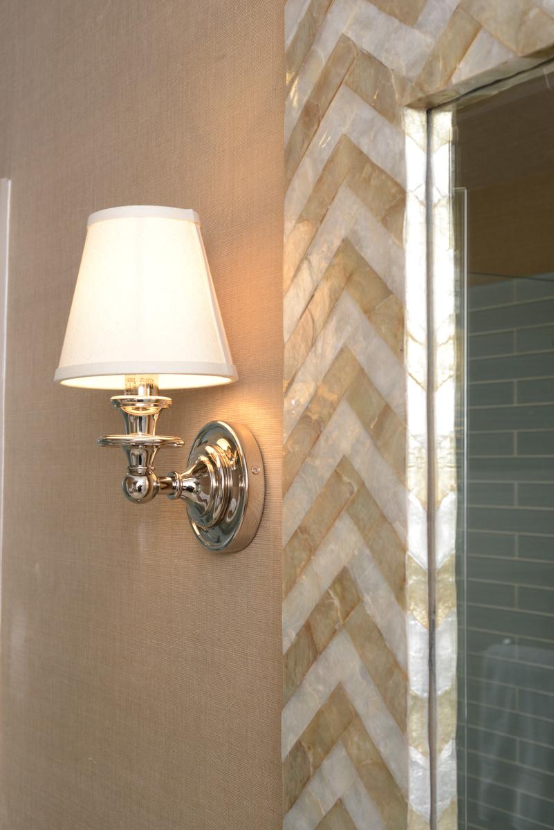 coastal haven design | coastalhavendesign.com | chevron tiled mirror and lighting
