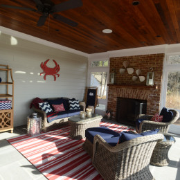 coastal haven design | coastalhavendesign.com | red and navy sunroom