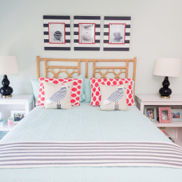 coastal haven design | coastalhavendesign.com | blue and coral bedding and pillows