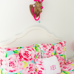 coastal haven design | coastalhavendesign.com | Lily Pullitxer bedding and headboard