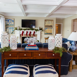 coastal haven design | coastalhavendesign.com | Living room chairs and holiday decor