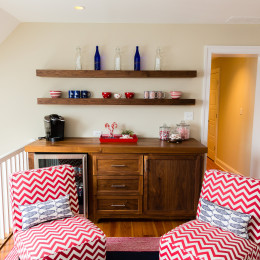 coastal haven design | coastalhavendesign.com | red and white chevron chairs and bar