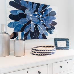 coastal haven design | coastalhavendesign.com | blue bedroom flower painting