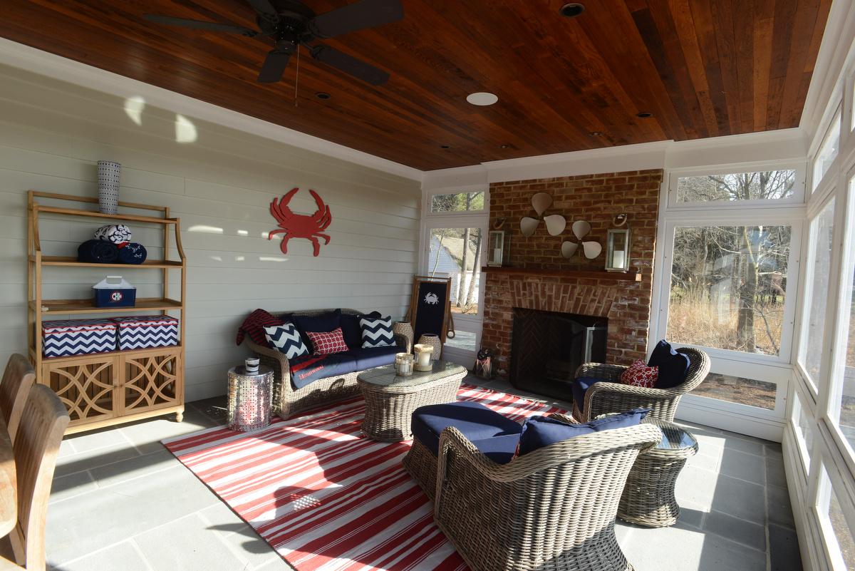coastal haven design   coastalhavendesign.com   red and navy sunroom