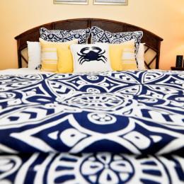 coastal haven design | coastalhavendesign.com | blue and yellow crab bedding