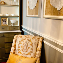coastal haven design | coastalhavendesign.com | yellow damask chair with shell paintings