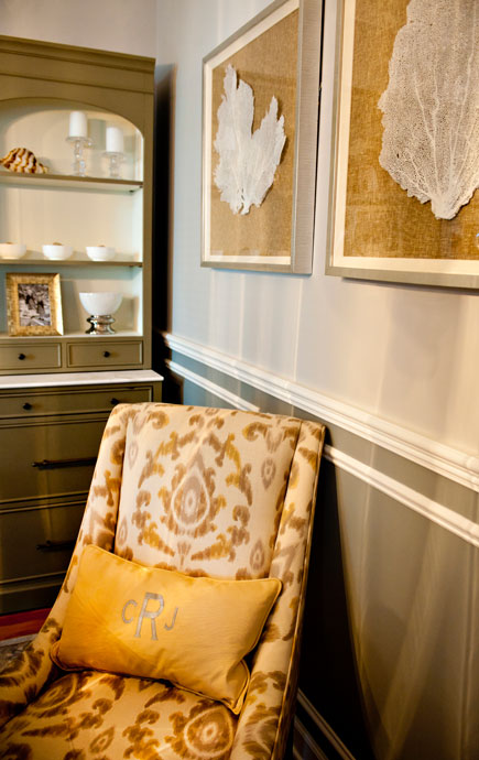 coastal haven design   coastalhavendesign.com   yellow damask chair with shell paintings