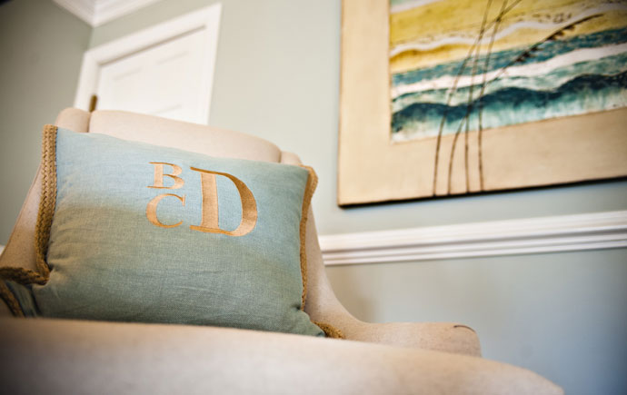coastal haven design | coastalhavendesign.com | chair with monogrammed pillow