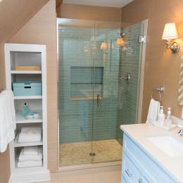 coastal haven design | coastalhavendesign.com | blue tile shower in bathroom