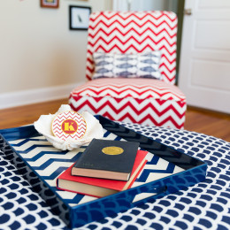 coastal haven design | coastalhavendesign.com | blue and red bedroom accessories
