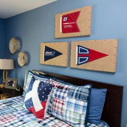 coastal haven design | coastalhavendesign.com | blue plaid bedroom decor and headboard