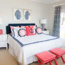 coastal haven design | coastalhavendesign.com | white, navy, coral bedroom